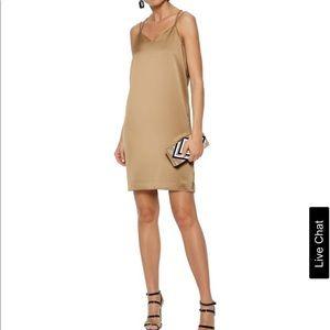 Satin-crepe mini slip dress
